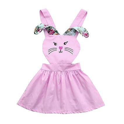 feiXIANG Bebé recién Nacido Ropa de niña Vestido de niña Orejas largas Estampado de Conejo Vestido