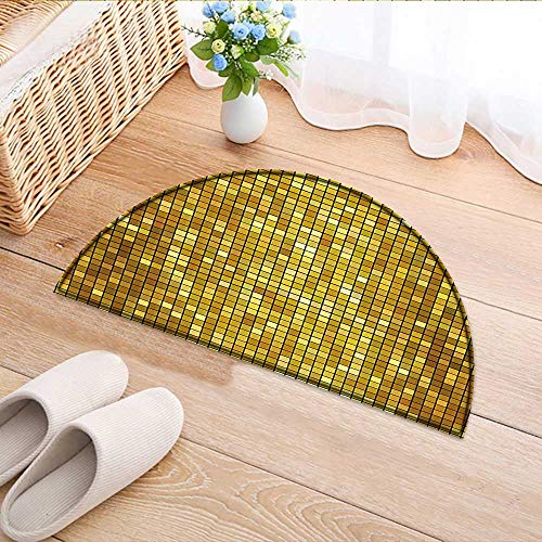 Semicircle Area Rug Carpet Design with Mosaic Like Image with Square Details Artwork Print Marigold and Yellow Door mat Indoors Bathroom Mats Non Slip W59 x H35 INCH -
