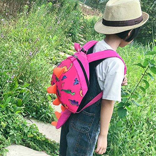 3D Ragazze Scuola bambine Bambini Zaino Borse per ragazzo scuola zainetto Rosa Nuovo Mini elementare BYSTE a bambino schoolbag zainetto dinosauro bello della borsa 7Ig5xPT