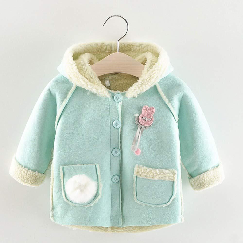 Kids Coat,FTXJ Children Kids Baby Girls Cartoon Rabbit Hooded Keep Warm Wadded Jacket Clothes