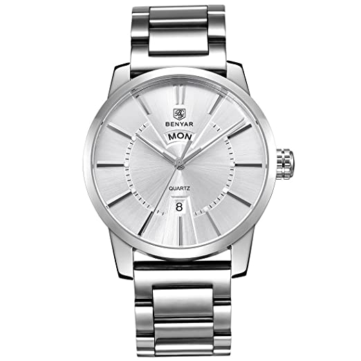 BENYAR Relojes Clásicos Moda Impermeable Fecha Negocio Casual Deporte Acero Inoxidable Band Reloj de Pulsera para Hombre: Amazon.es: Relojes