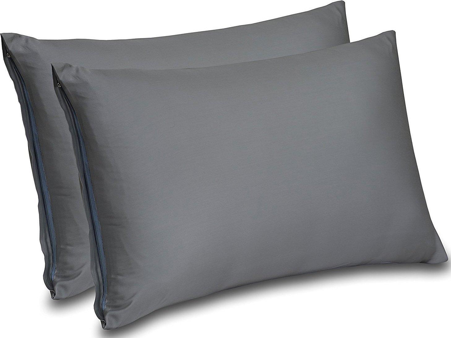 Utopia Bedding Premium Cotton Zippered Pillow Cases - 2 Pack (Queen, Grey) - Elegant Double Hemmed Stitched Pillow Encasement by Utopia Bedding (Image #1)