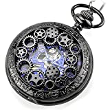 Vintage Steampunk Black Gears Copper Case Skeleton Mechanical Pocket Watch with Chain Gift Box