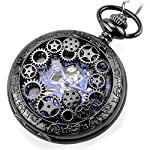 Steampunk Golden Gears Copper Case Skeleton Mechanical Pendant Pocket Watch with Chain/Gift Box 9