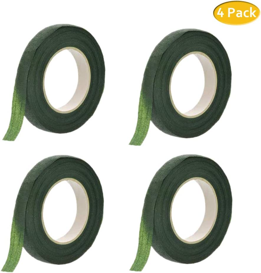 Vetoo Floral Tapes Self-Adhesive Wraps 4 Pack Green1,Florist Stem Wrap Floral Arrangement Accessories for Bouquet Flowers Wrapping and Crafts Making