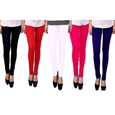 2448601fa89 Premium Cotton Lycra Stretchable Leggings For Women and Girls - Regular and Plus  Size (Pack of 5)  Amazon.in  Clothing   Accessories