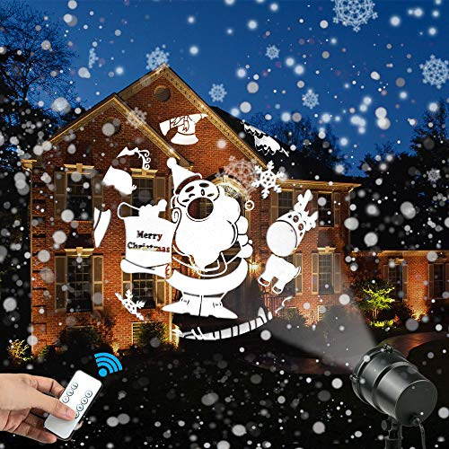 Christmas LED Light Projector, Aholic Waterproof Landscape Projector Lamp with Remote Control, Indoor Outdoor Moving Stage Spotlight Decoration Projector for Christmas, Halloween ()