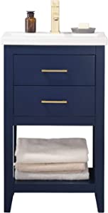 "LUCA Kitchen & Bath LC20FBP Dublin 20"" Bathroom Vanity Set in Midnight Blue with Integrated Porcelain Top"