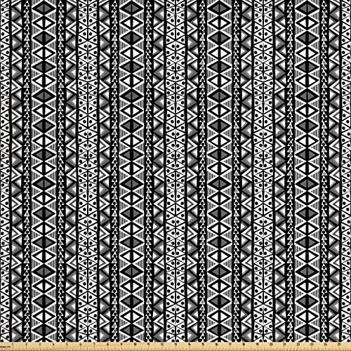 Ambesonne Retro Fabric by The Yard, Ethnic Boho Aztec Pattern in Black and White with Western Native Effects Folk Design, Decorative Fabric for Upholstery and Home Accents, 2 Yards, Grey Black ()