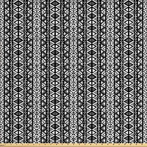 Ambesonne Retro Fabric The Yard, Ethnic Boho Aztec Pattern in Black White Western Native Effects Folk Design, Decorative Fabric Upholstery Home Accents, 1 Yard, Grey Black ()