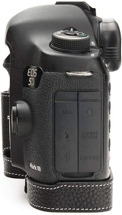 Handmade Genuine Real Leather Half Camera Case Bag Cover for Canon EOS 5D Mark III 5D3 Black Color