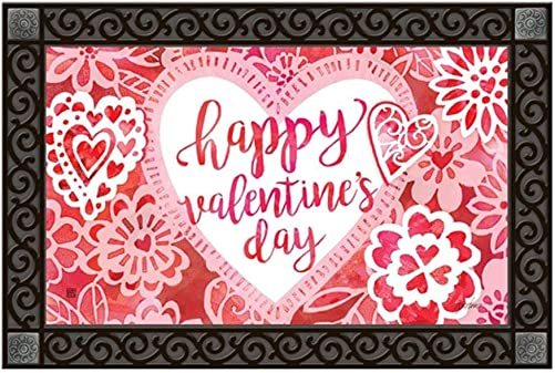 Studio M MatMates Valentine Lace Spring Valentine s Day Decorative Floor Mat Indoor or Outdoor Doormat with Eco-Friendly Recycled Rubber Backing, 18 x 30 Inches
