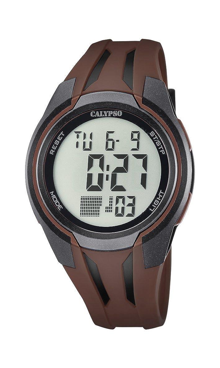 Calypso–Reloj Digital Unisex con LCD Pantalla Digital Dial y Correa de plástico de Color marrón K5703/5