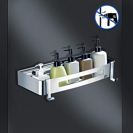 WinArrow- Estantería para Baño Ducha Acero Inoxidable, Estantes de Baño con Ganchos Accesorios Ducha para Baño y Cocina,Dos métodos - pegar y perforar ...