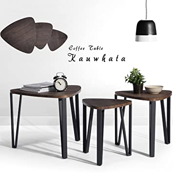 amazoncom coffee table set of 3 end side table night stand nesting corner table stacking tea table brown modern leisure wood table with metal tube for