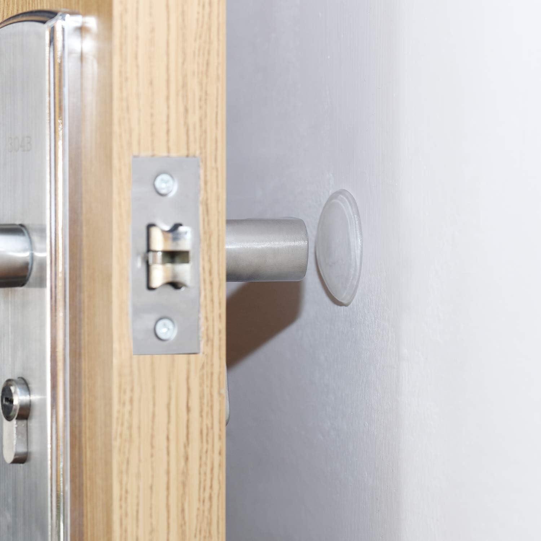 Self Adhesive Reusable Door Bumper Doorknob Protector for Cabinets Door Handles and Refrigerators 12 Pieces Round Door Stopper Wall Protector Thickness 8 mm Clear Diameter 40 mm