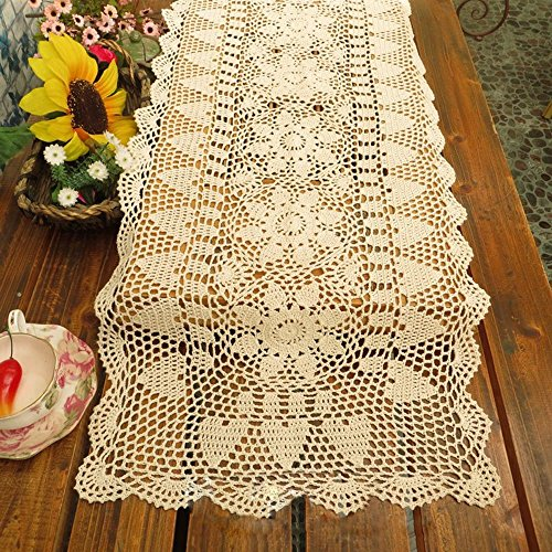 Handmade Dining Room Tables (TideTex Handmade Crochet Flower Lace Table Runner Rustic Elegant Runner Cabinet Room Dining Room Table Decoration Design Dresser Floral Table Cover Tablecloth Rectangle (14x72 inch, beige))