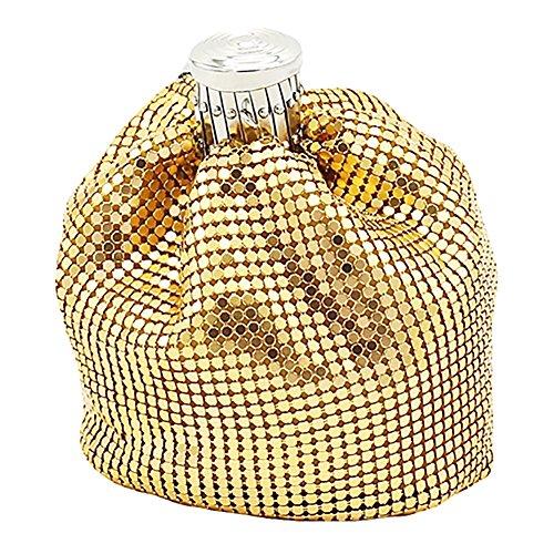 Coin Purse Bag Women Afco Golden Aluminum Metal Handbag Mesh Sequin Mini 0nPnOX