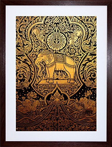 (Wee Blue Coo 9x7 '' Painting Ornate Abstract Thailand Elephant Framed Art Print F97X666)