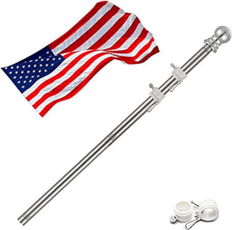 Wood 5ft Flagpole with Rotating Ring and Clip Kit w//Bracket FREE SHIP
