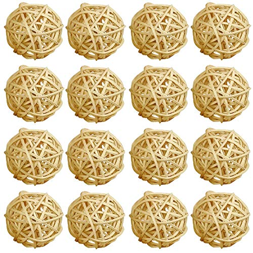 ZZPRO 16 Pcs 2 Inch Wicker Rattan Balls Decorative Themed Party Decoration Tree Decoration Wedding Table Decoration Baby Shower Orbs Vase Fillers for Craft Project (Natural) (Rattan Balls Craft)