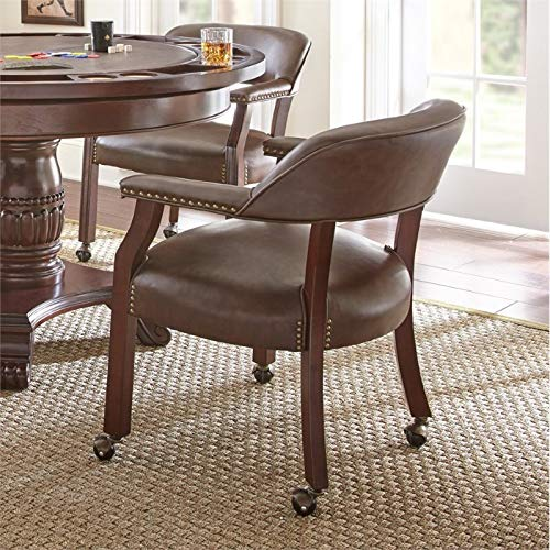 Steve Silver Company Tournament Captains Chair with Casters, Brown (With Kitchen Chair Wheels)