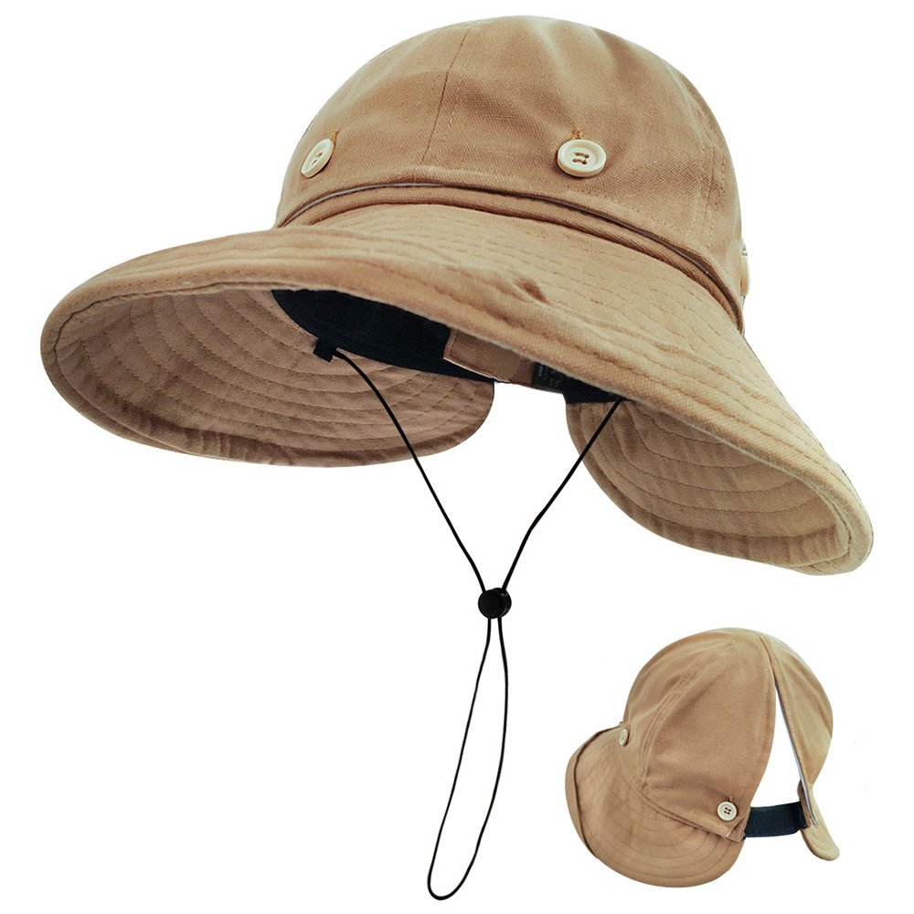 de7262731fa3d7 LETHMIK Removable Top Sun Visor Hat,Womens UV Protection Wide Brim Cap  Ponytail Beach Hat Khaki