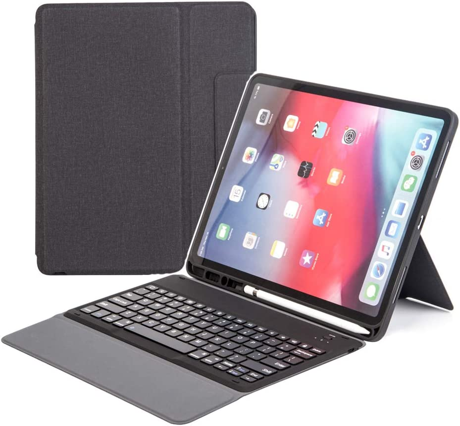 """Bluetooth Keyboard Leather Case for iPad Pro 12.9 Inch 2018 3rd Generation, Wireless Keyboard-Slim Lightweight Case- Auto Sleep Wake Smart Leather Cover-Built-in Pencil Holder for Ipad 12.9"""" 2018"""