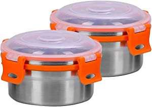 Khandekar Pack of 2 Stainless Steel Food Storage Containers with Leak Proof Lids, Mini Metal Eco Lunch Box, Reusable Round Bento Box for Kids - 8 oz (250 ML)/each