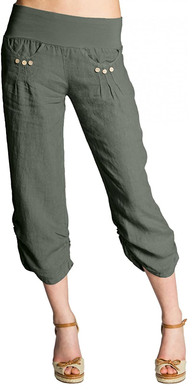 Caspar KHS017 Pantalones de Verano Capri Pirata de Lino para Mujer