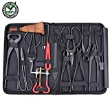 Compete 14 in 1 Carbon Steel Bonsai Tool Kit Suitable for Patio Lawn Garden or Yard | Ideal for All Levels of Bonsai Enthusiasts | Beginner or Professional | With Heavy Duty Nylon Case with Inner Flap
