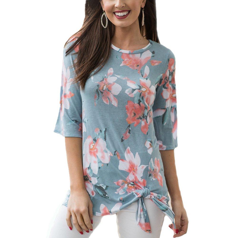 Antopmen Summer Women O Neck Half Sleeve Floral Print T-Shirt Comfy Casual Tops (Large, Blue)