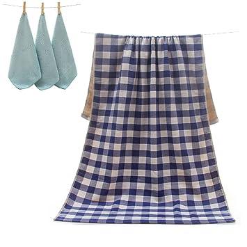 uniui 70 x 140 cm extra grande de algodón rayas/cuadros toallas de baño Set
