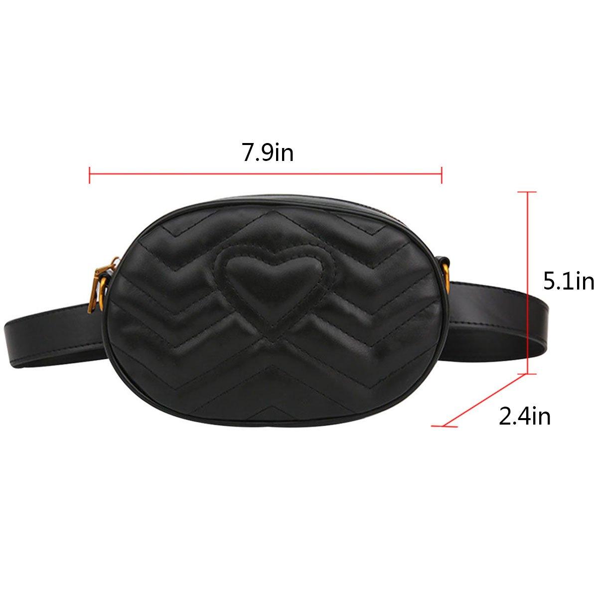Sun Kea Women Fashion Leather Fanny Pack Love Heart Pattern Waist Bag Belt Bumbag Cell Phone Pouch