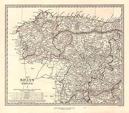 ESPAÑA NW. Galicia Leon Asturias Zamora Palencia Salamanca Toro SDUK - 1846 - Mapa Antiguo Vintage - Mapas Impresos de España: Amazon.es: Hogar
