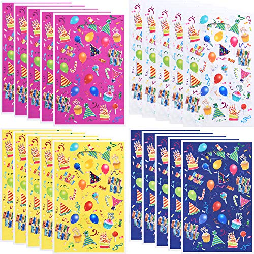 120 Pieces Plastic Balloons Gift Bags Candy Bags Party Favor Bags Printed with Balloons for Birthday Party Favor, Assorted Colors]()