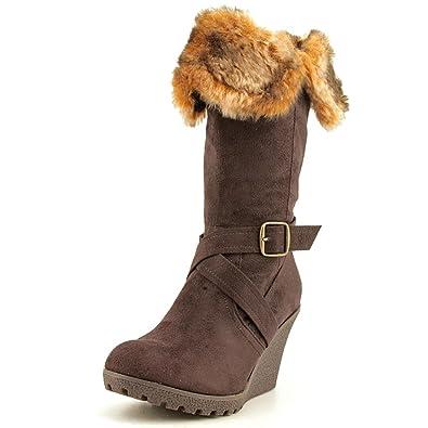 35e01fe411dc XOXO Olivia Womens Chocolate Brown Fur Cuffed Wedge Heel Boots