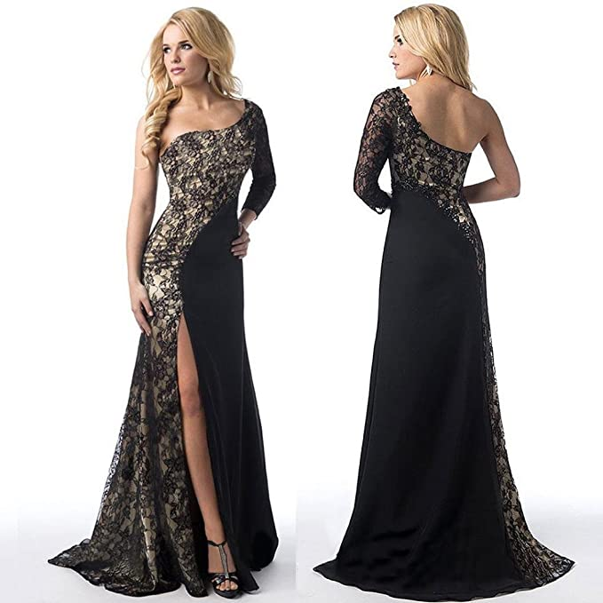 08e9a32b03 Womens Lace Stitching One Shoulder Long Sleeve Mermaid Evening Gown Formal  Maxi Dress (Black