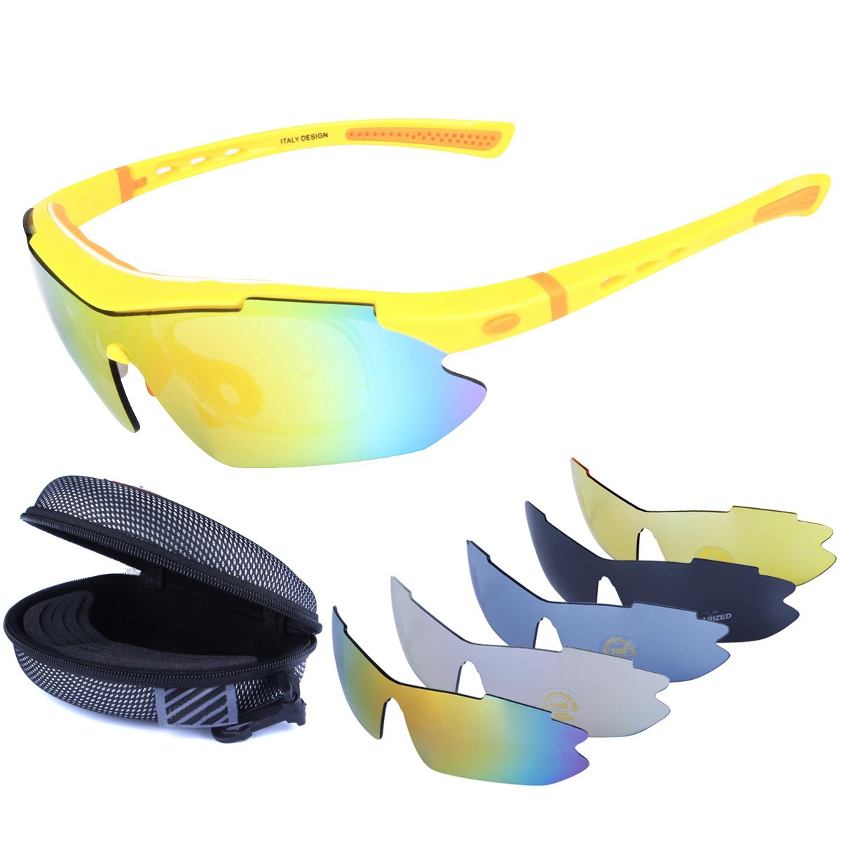 Polarized Sports Sunglasses Cycling Baseball Running Fishing Driving Golf Hiking Biking Outdoor Glasses with 5 Interchangeable Lenses Motorcycle Bicycle Riding Goggles for Men Women (yellow & orange)