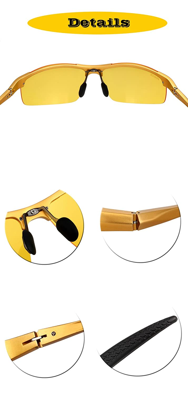 SOXICK HD Night Vision Glasses Driving Polarized Anti-glare Rain Day 4 Styles