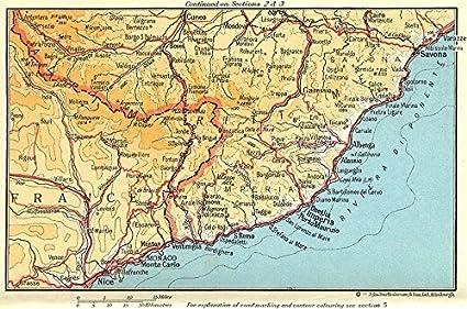 Costa Azzurra Cartina Politica.Riviera Di Ponente Costa Azzurra Nice Monaco Savona 1960 Old Antique Mappa Vintage Stampato Mappe Della Francia Amazon It Casa E Cucina