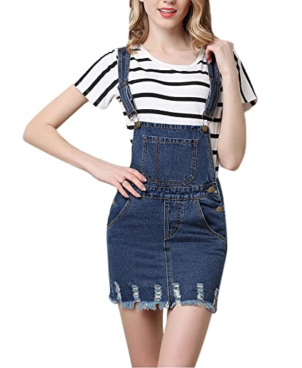 ae1466554b2 Amazon.com  Lingswallow Women s Plus Size Loose Blue Cowboy Stripe Overalls  Suspenders Denim Skirt Dress  Clothing