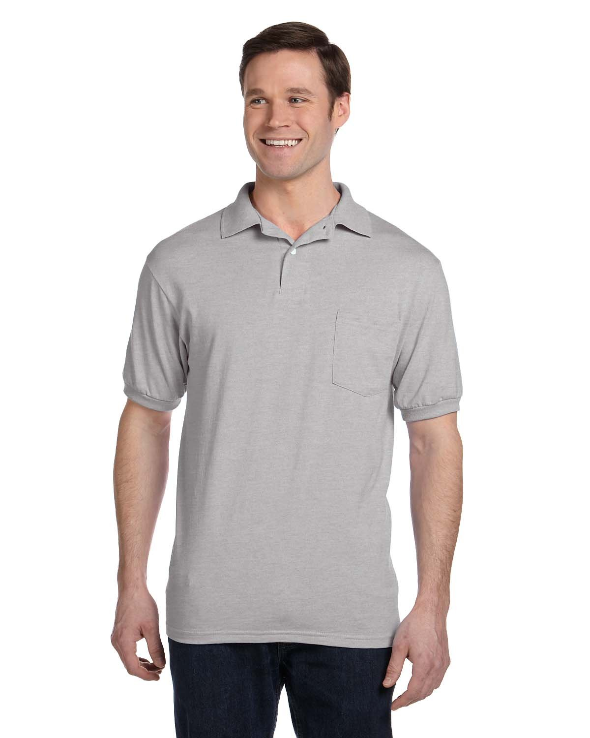 Hanes Men's 2 Pack Short Sleeve Jersey Pocket Polo, Light Steel, Small by Hanes