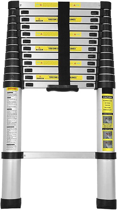wolketon 3,8M Escalera Telescópica de Aluminio, Carga 150kg Escalera Extensible Multifuncional Portátil, Extensión telescópica 13 Escalones Antideslizantes: Amazon.es: Bricolaje y herramientas