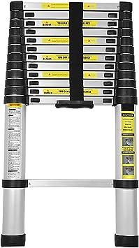 BMOT 3,8M Escalera telescópica de Aluminio Fuerte Estabilidad Escalera plegable Escalera alta multifuncional para loft 13 Escalones Antideslizantes Carga 150 KG: Amazon.es: Bricolaje y herramientas