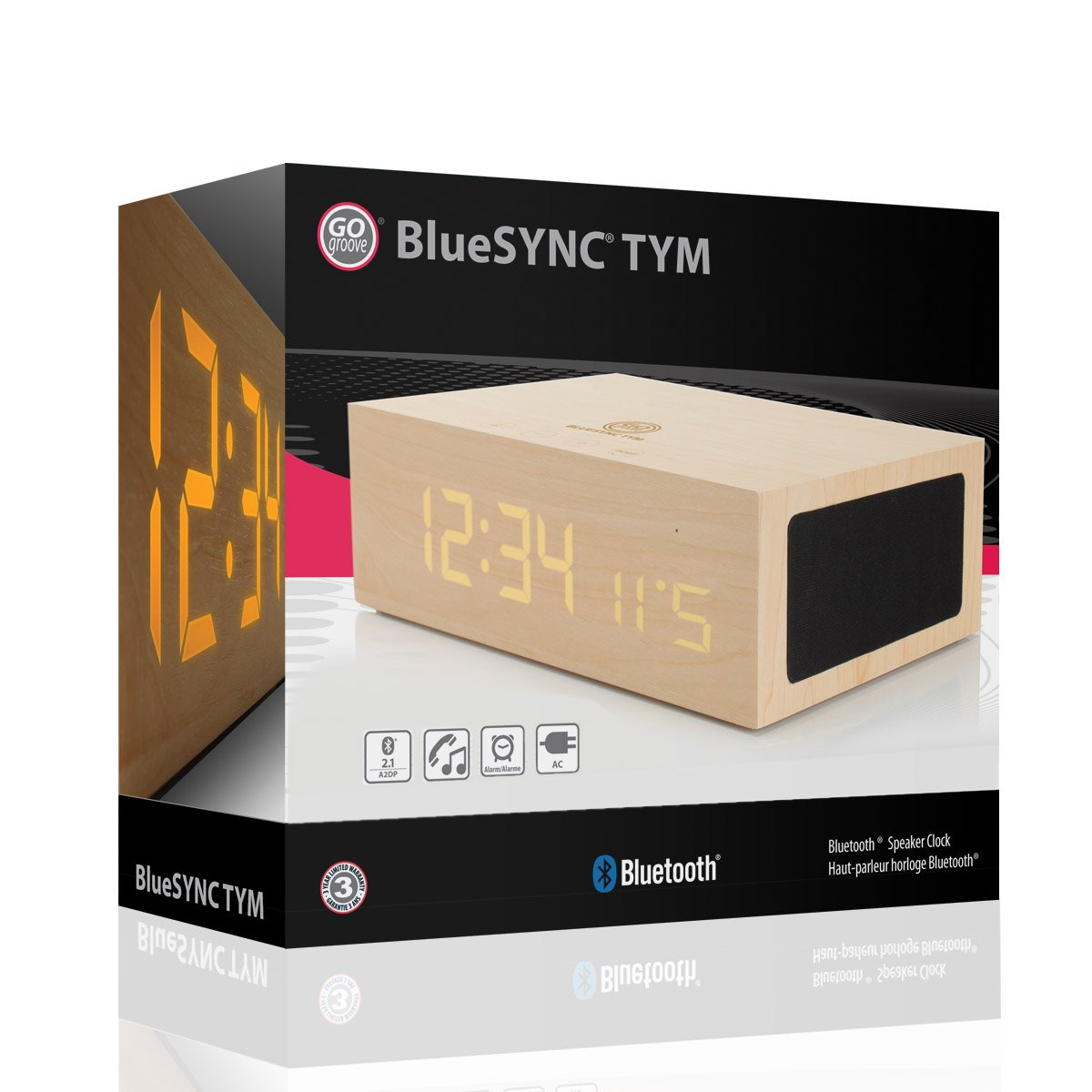 amazoncom gogroove bluesync tym bluetooth wireless stereo speaker wooden alarm clock w led time temperature display for phones mp3 players tablets acer friends wooden classic