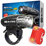 BLITZU Gator 320 AAA Battery Powered Bike Light Set POWERFUL Lumens Bicycle Headlight FREE TAIL LIGHT, LED Front and Back Rear Lights Easy To Install for Kids Men Women Road Cycling Safety Flashlight