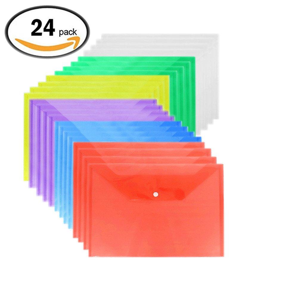 Filing Envelopes Premium Envelope Poly Envelope 24 Pcs Plastic Envelopes with Snap Button Waterproof Transparent Project Envelope Folder A4 Size 6 Assorted Colors