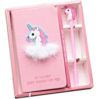 Dolity Flamingo Notebook Set Note Book with Pen Set Diary Day Planner Cute Journal Stationery School Supplies Study Gift Tools - Unicorn 1, 10x18cm