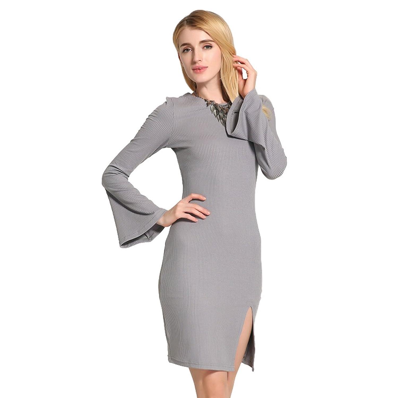 hibote Womens Knitted Dress / Trumpet sleeves / Back straps / Side Split